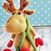Куклы и игрушки handmade. Livemaster - original item Soft knitted Deer toy with green scarf. Handmade.