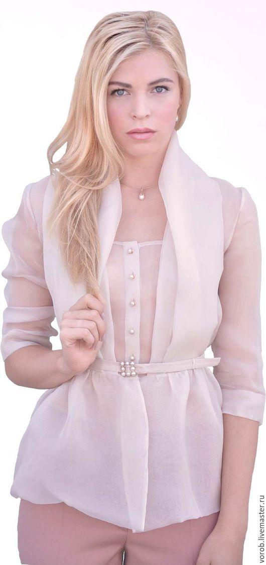 Блузки ручной работы. Ярмарка Мастеров - ручная работа. Купить Блуза шелковая.. Handmade. Блузка шелковая, блузка бежевая