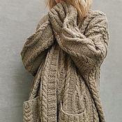 Одежда handmade. Livemaster - original item Cardigan with Braids Warm Cardigan Large Size Cardigan Unisex. Handmade.