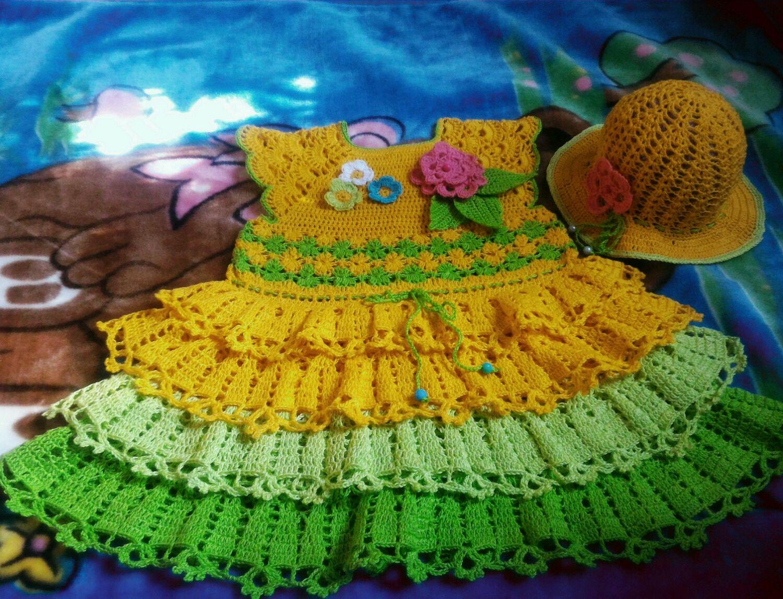 Одежда для девочек, ручной работы. Ярмарка Мастеров - ручная работа. Купить Платье летнее с панамкой для девочки вязаное крючком , Радуга. Handmade.