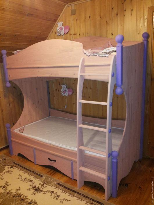 Животные ручной работы. Ярмарка Мастеров - ручная работа. Купить двуярусная детская деревянная кровать. Handmade. Бледно-розовый, подарок