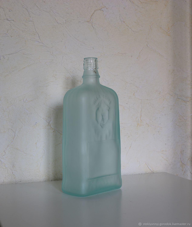 Бутылка матовое зелено-голубое стекло, Бутылки, Джубга,  Фото №1