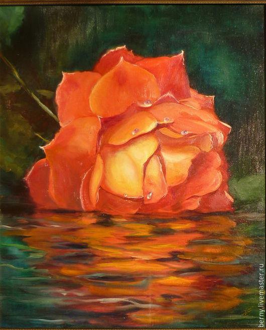 """Картины цветов ручной работы. Ярмарка Мастеров - ручная работа. Купить Картина """"Вдыхая нежный аромат"""". Handmade. Ярко-красный"""