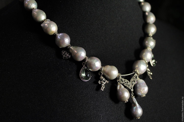Necklace 'Grey Kasumi with charms', Necklace, Nizhny Novgorod,  Фото №1