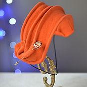"""Аксессуары ручной работы. Ярмарка Мастеров - ручная работа Шляпка-накладка """"Оранжевая"""". Handmade."""