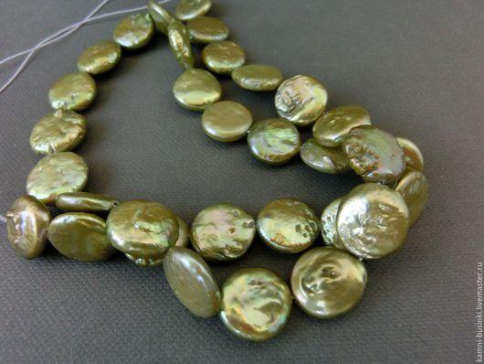 Для украшений ручной работы. Ярмарка Мастеров - ручная работа. Купить Жемчуг зеленый барочный натуральный бусина монета. Handmade.
