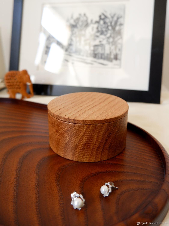 B a s i c _ Круглая деревянная коробочка из дуба, Хранение вещей, Санкт-Петербург,  Фото №1