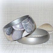 Украшения handmade. Livemaster - original item Gray set of bangles made of wood Stones. Sea pebbles, Seashell. Handmade.