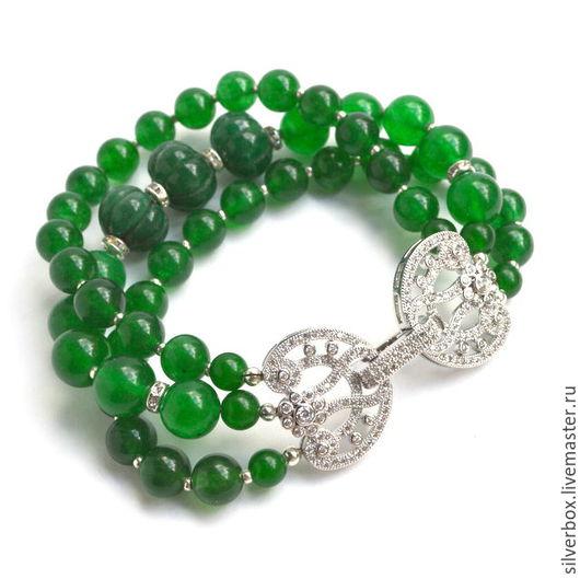 Браслет Зелёный Жадеит Изумруд  Ручная работа Купить зелёный браслет  Купить элегантный браслет Купить браслед с зелёным жадеитом и изумрудами Нина(SilverBox) Ярмарка Мастеров
