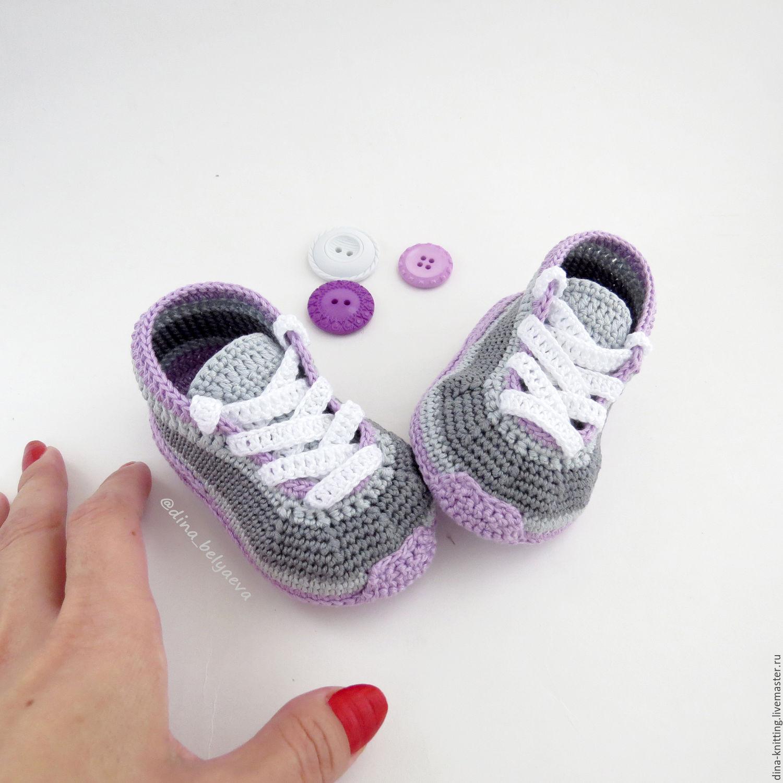 вязание кедов для новорожденных