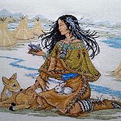 Картины и панно ручной работы. Ярмарка Мастеров - ручная работа Индейская девушка. Handmade.