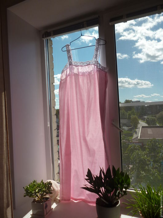 Белье ручной работы. Ярмарка Мастеров - ручная работа. Купить рубашка ночная. Handmade. Розовый, спальня, белье ручной работы