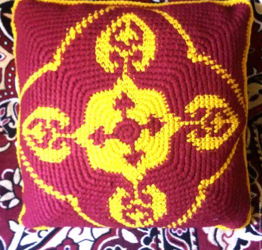 Текстиль, ковры ручной работы. Ярмарка Мастеров - ручная работа. Купить Интерьерная вязаная диванная подушка.. Handmade. Диванная подушка