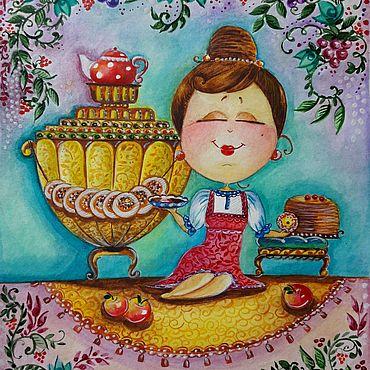 Картины и панно ручной работы. Ярмарка Мастеров - ручная работа Картины: Дама с самоварчиком. Handmade.