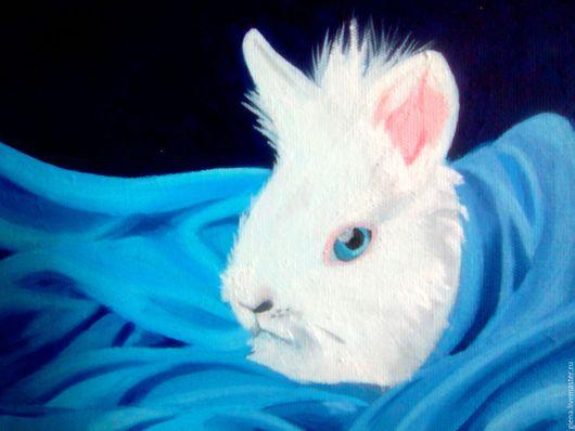 Животные ручной работы. Ярмарка Мастеров - ручная работа. Купить Белый кролик. Handmade. Синий, картина маслом, картина в подарок