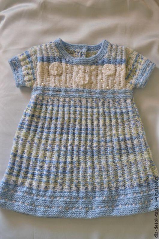Одежда для девочек, ручной работы. Ярмарка Мастеров - ручная работа. Купить Платье вязанное для девочки. Handmade. Голубой, одежда вязаная
