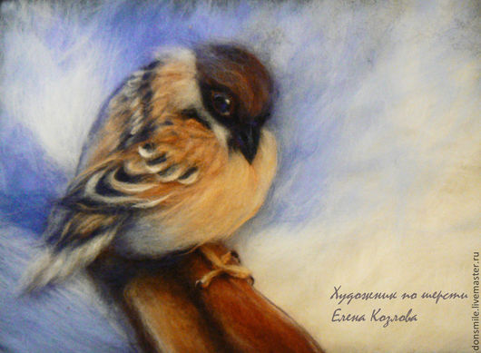 """Животные ручной работы. Ярмарка Мастеров - ручная работа. Купить Картина из шерсти """"Пташка"""". Handmade. Разноцветный, войлочная картина"""