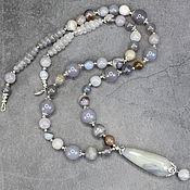 Украшения handmade. Livemaster - original item Natural Smoky Gray Agate Sautoir with a pendant. Handmade.