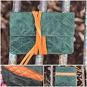 Сумки и аксессуары handmade. Livemaster - original item A pouch for tobacco suede quilted lace up Green red. Handmade.