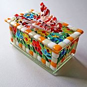 Для дома и интерьера handmade. Livemaster - original item Glass box with a butterfly, fusing. Handmade.