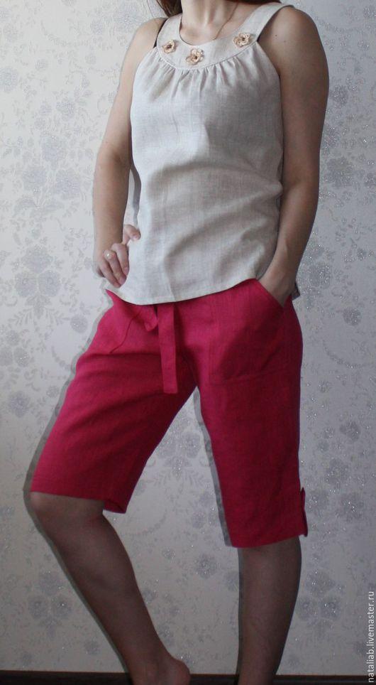 """Брюки, шорты ручной работы. Ярмарка Мастеров - ручная работа. Купить Льняные капри """". Handmade. Капри, одежда для женщин"""