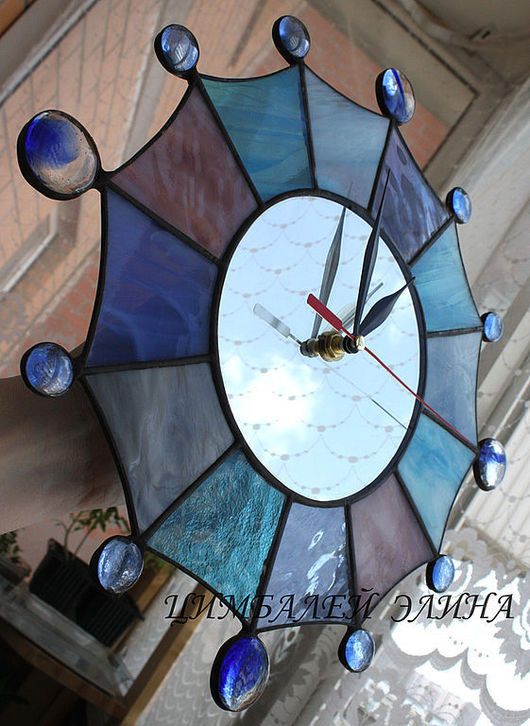"""Часы для дома ручной работы. Ярмарка Мастеров - ручная работа. Купить Витражные часы""""Мерцание звезды 2"""". Handmade. Часы"""