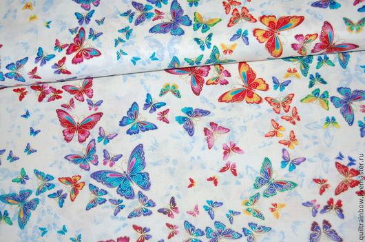 """Шитье ручной работы. Ярмарка Мастеров - ручная работа. Купить Хлопок """"Бабочки"""" (белый фон). Handmade. Разноцветный, хлопок для пэчворка"""