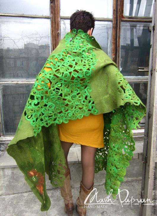 """Шали, палантины ручной работы. Ярмарка Мастеров - ручная работа. Купить Валяный палантин """" Весна священная """". Handmade."""