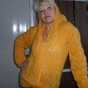 Одежда handmade. Livemaster - original item Openwork knitted sweater with a hood. Handmade.