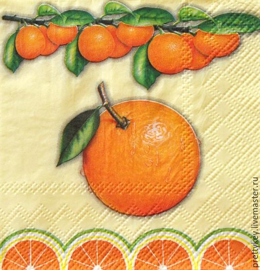 Декупаж и роспись ручной работы. Ярмарка Мастеров - ручная работа. Купить Салфетка для декупажа. Апельсины. Handmade. Ярко-красный