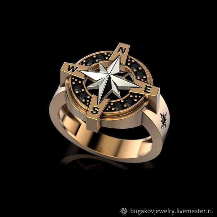 8a5ffd053157 ... золота 585 с черными бриллиантами. Кольца ручной работы. Ярмарка  Мастеров - ручная работа. Купить Кольцо  Роза ветров  ...