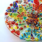 Посуда handmade. Livemaster - original item dish glass fusing Butterflies fly. Handmade.