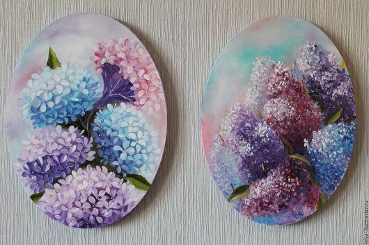 Картины цветов ручной работы. Ярмарка Мастеров - ручная работа. Купить Парные картины Цветы. Handmade. Комбинированный, сирень, гортезии