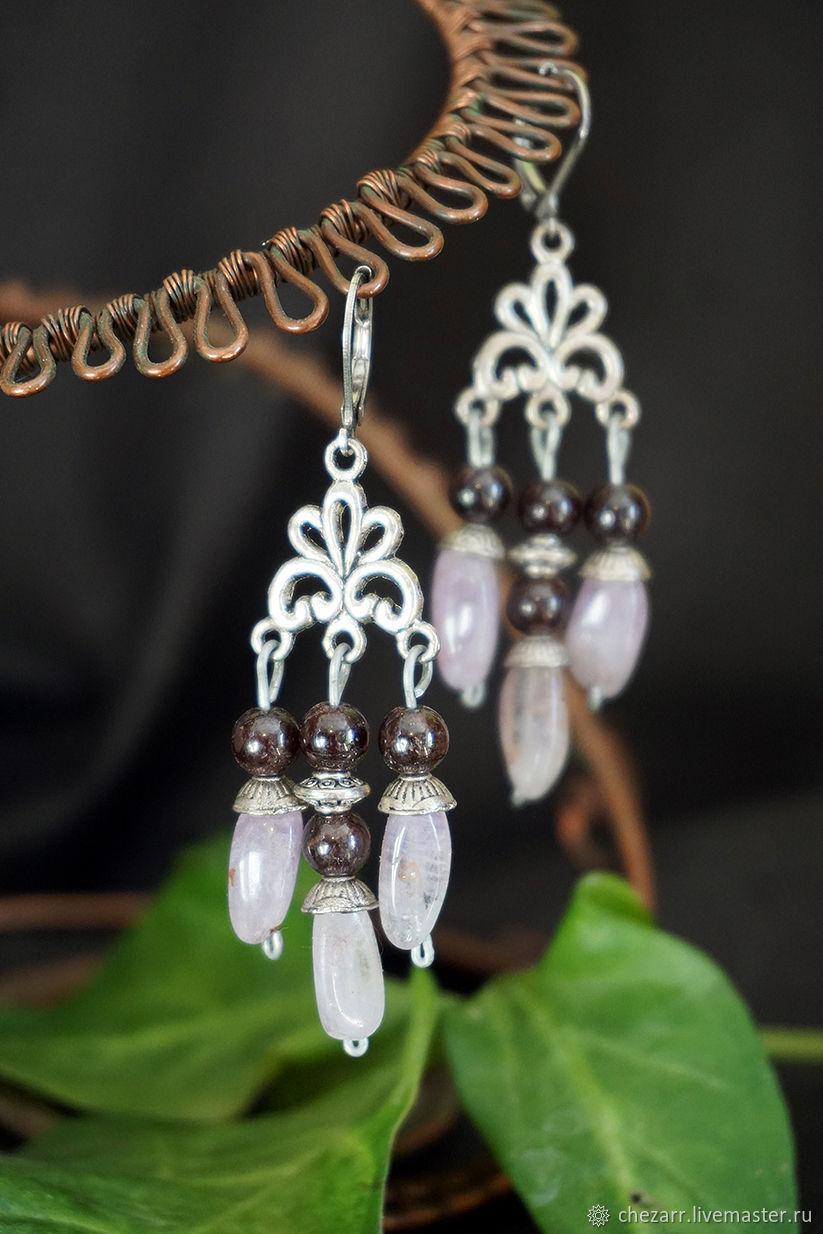 Long earrings with amethysts and garnet, Earrings, Chelyabinsk,  Фото №1