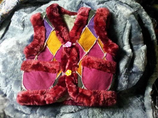 Одежда для девочек, ручной работы. Ярмарка Мастеров - ручная работа. Купить Жилетки из овчины на 2 годика. Handmade. Комбинированный