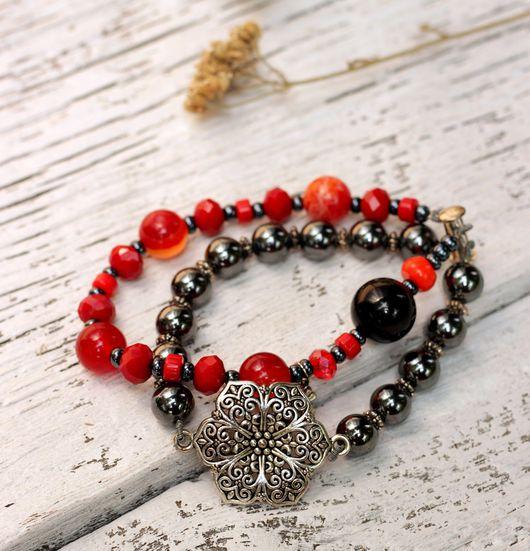 Бохо браслет `Кармен` с натуральным сердоликом
