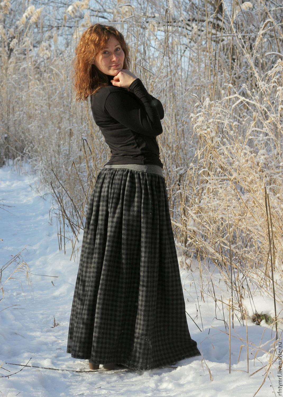 Длинные теплые юбки фото