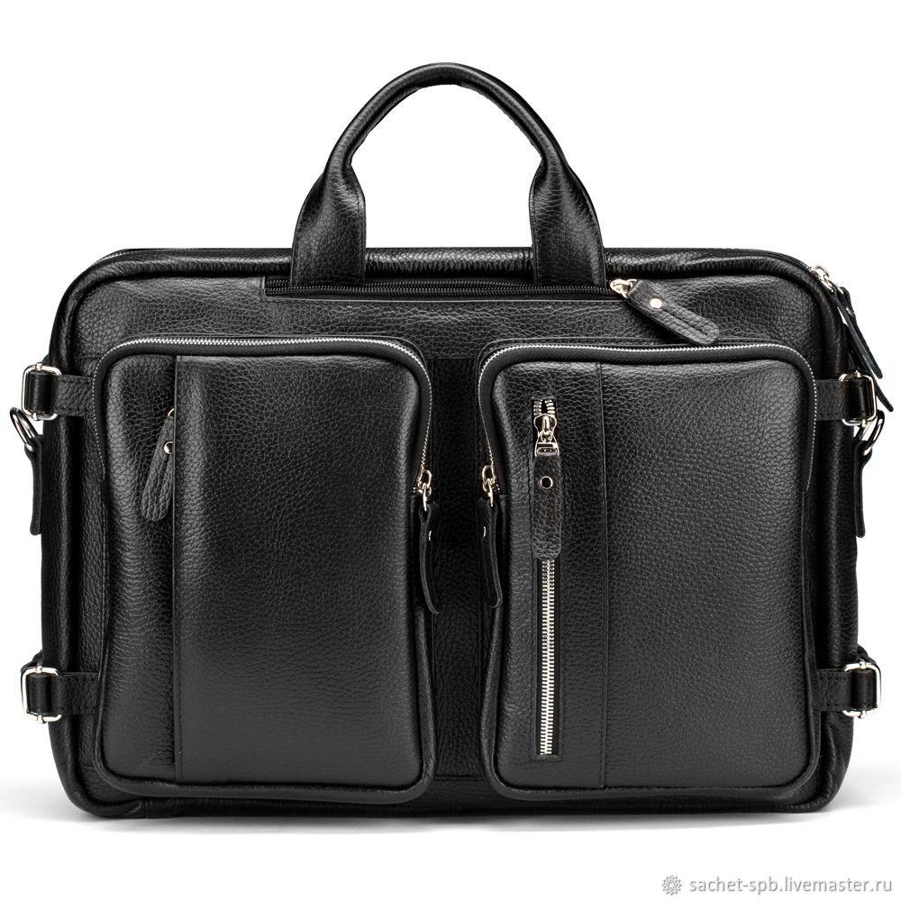 """Кожаная сумка-рюкзак """"Бигмэн"""" (черная), Classic Bag, St. Petersburg,  Фото №1"""