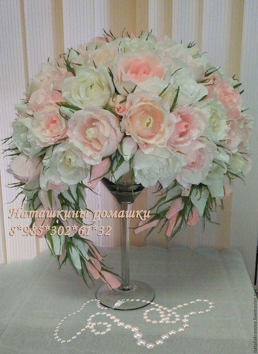 Свадебные цветы ручной работы. Ярмарка Мастеров - ручная работа. Купить Свадебный букет из конфет на бокале. Handmade. Бледно-розовый
