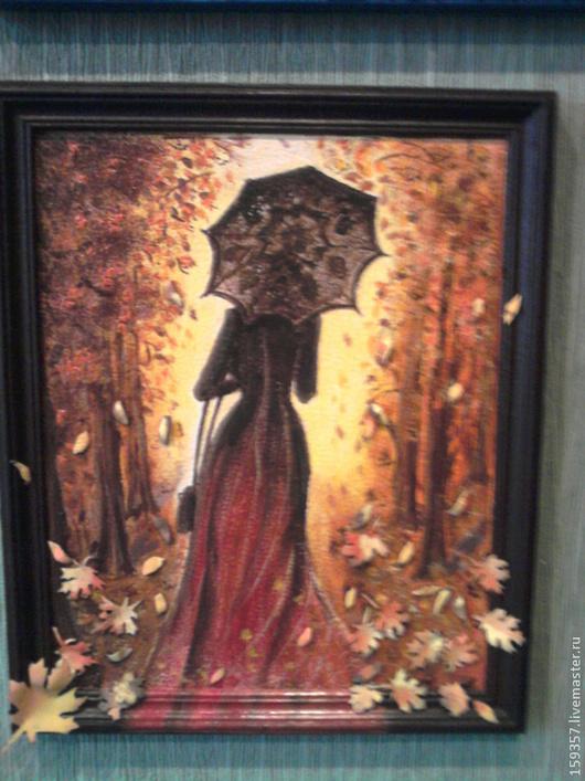 """Люди, ручной работы. Ярмарка Мастеров - ручная работа. Купить Панно """"Осенний мотив"""". Handmade. Рыжий, панно, деревянная рамка"""