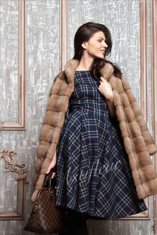 Платья ручной работы. Ярмарка Мастеров - ручная работа. Купить Платье из шерсти миди  синяя клетка. Handmade. Тёмно-синий