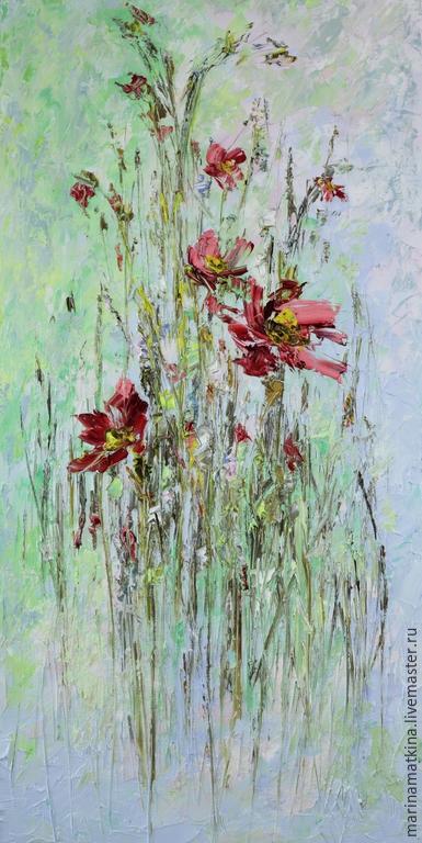 Картины с цветами на стену в спальню холл гостиную купить заказать спб Пастозная рельефная объемная живопись маслом цветы в подарок на новый год 2016 на холсте с подрамником Художник Марина Маткина
