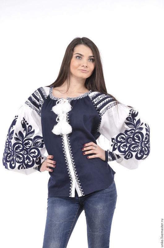 """Блузки ручной работы. Ярмарка Мастеров - ручная работа. Купить Этническая блуза""""Контраст"""". Handmade. Белый, вышить, лен, хлопок"""