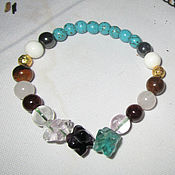 Украшения handmade. Livemaster - original item Beautiful charm bracelet made of fluorite crystal and garnet gems. Handmade.