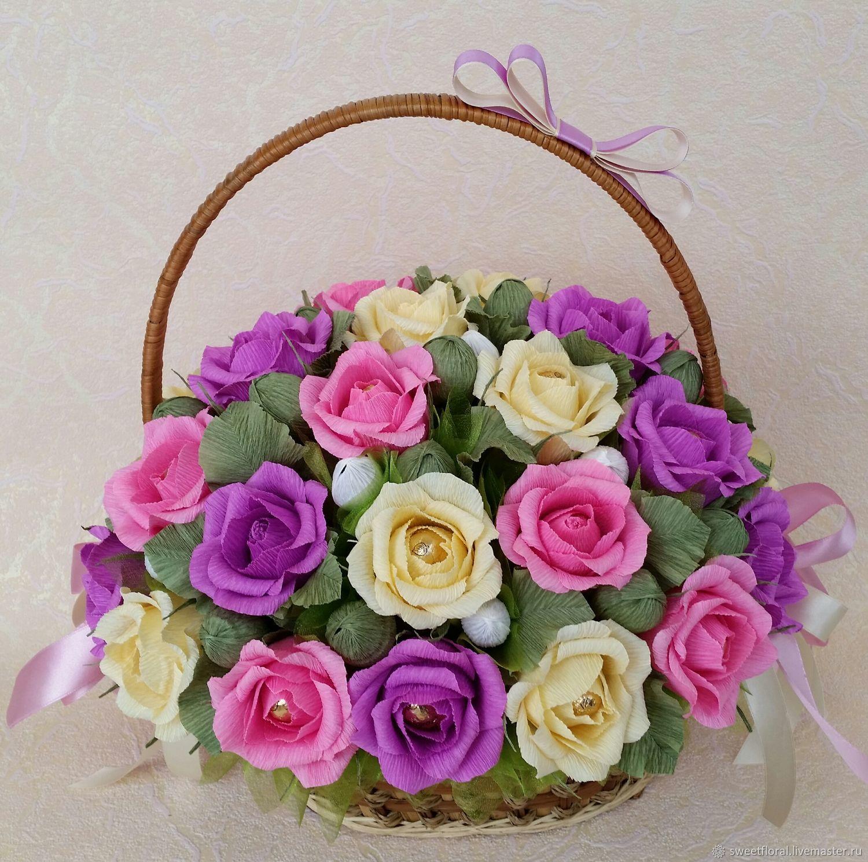 Мастер класс букет роз из гофрированной бумаги в корзинке