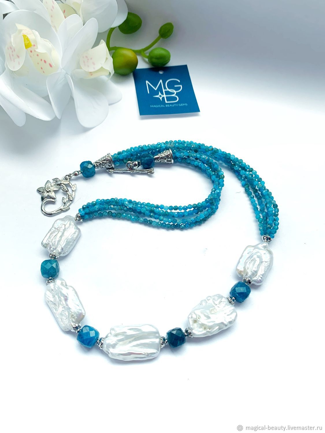Necklace with apatite and natural Baroque pearls, Necklace, Moscow,  Фото №1