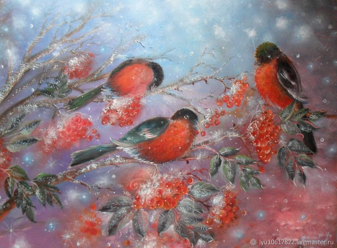 Снегири картина маслом, Картины, Промышленная,  Фото №1