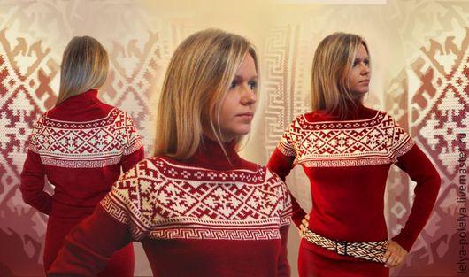 Одежда ручной работы. Ярмарка Мастеров - ручная работа. Купить Вязаное платье с орнаментом. Handmade. Бордовый, славянский стиль, полушерсть