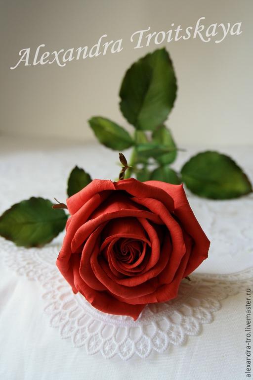 """Цветы ручной работы. Ярмарка Мастеров - ручная работа. Купить Красная роза  """"Пламя страсти"""" из фоамирана на стебле из х. фарфора. Handmade."""