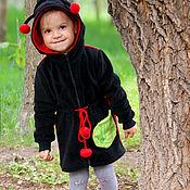 Одежда детская handmade. Livemaster - original item Children`s tunic with ladybug hood, hoodie for girls. Handmade.
